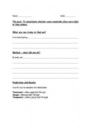 English Worksheet: CLIL: light experiment