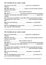 English Worksheets: Exercises about really, just and actually