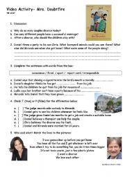 English Worksheets: Mrs. Doubtfire
