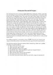 English Worksheet: Holocaust Webquest