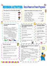 English Worksheet: END OF THE SCHOOL YEAR- REVISION ACTIVITES HANDOUT