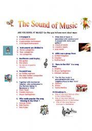 English worksheet: the sound of music: Music quiz