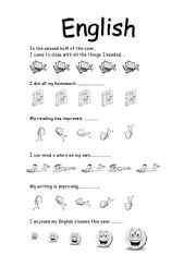 English Worksheet: student self evaluation sheet