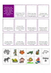 English Worksheets: Cut and paste. Match the animals with the descriptions.