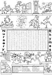 English Worksheet: wordsearch NURSERY RHYMES