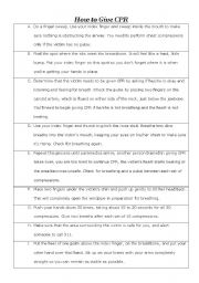 English Worksheets How To Give Cpr