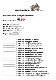 English Worksheet: relative clauses interview game