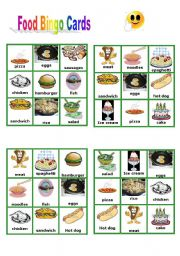 English Worksheet: Food - Bingo Cards part 1