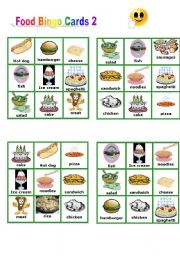 English Worksheet: Food - Bingo Cards part 2