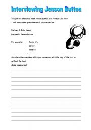 English Worksheets: Interviewing Jenson Button