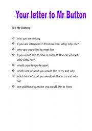 English Worksheets: Letter to Mr Button