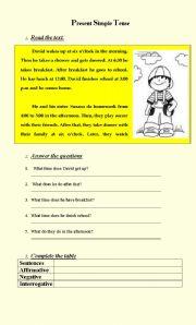 English Worksheet: David�s Daily Routines