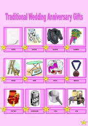 English Worksheet: Pictionary of Traditional Wedding Anniversary Gifts (1/2)