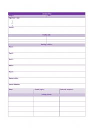 worksheet: Lesson Plan Format and Simple