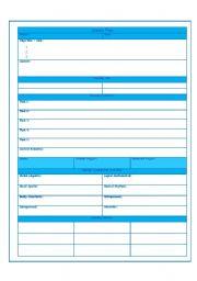 English worksheet: Lesson Plan Format