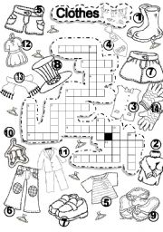 English Worksheet: CLOTHES CRISS CROSS PUZZLE