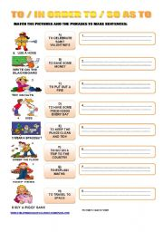 English Worksheets: TO / IN ORDER TO / SO AS TO