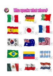 English Worksheet: COUNTRIES, NATIONALITIES AND LANGUAGES