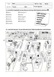 English Worksheet: Places in Town / Directions