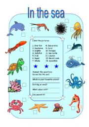 English Worksheets: IN THE SEA