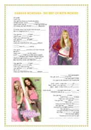 English Worksheets: Hannah Montana- The Best of both Worlds