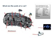English Worksheet: Parts of a Car to Label