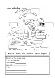 English Worksheet: pirates adventure