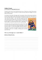 English Worksheet: Gulliver´s Travels writing exercise