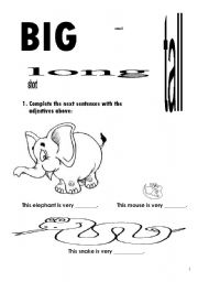 English Worksheet: Big, small, long, tall, short