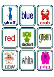 English Worksheets: Animals Colours Matching Game