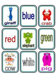 English Worksheet: Animals Colours Matching Game