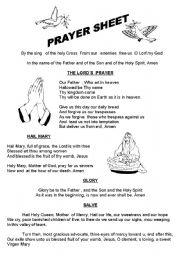 English Worksheets: prayer sheet