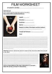 English Worksheet: TWILIGHT FILM WORKSHHET