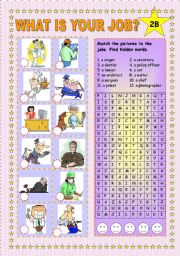 English Worksheets: What is your job? Part 2 B + KEY