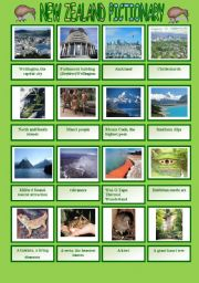 English Worksheet: New Zealand pictionary with written practice of the attractions´names