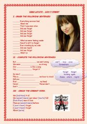 English Worksheet: Don�t forget by Demi Lovato