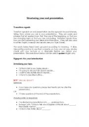 English Worksheets: Structuring your oral presentation