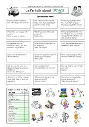 English Worksheet: Let�s talk about TOYS