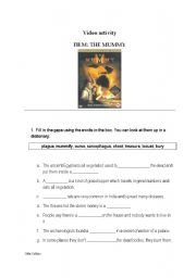 English Worksheet: Video Activity THE MUMMY