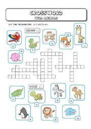 English Worksheet: Wild (Zoo) Animals Crossword