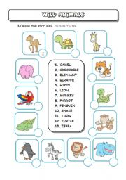 English Worksheets: Wild (Zoo) Animals - Number the Pictures