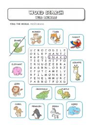 English Worksheets: Wild (Zoo) Animals - Word Search
