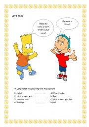 English Worksheets: greeting exercise