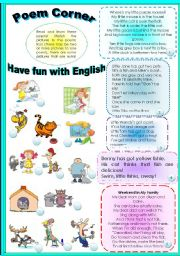 English Worksheets: LEARN SOME INTERESTING POEMS! HAVE FUN WITH ENGLISH!