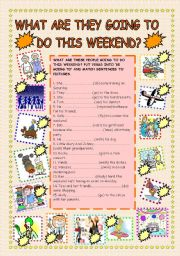 English Worksheet: What are you going to do this weekend? - BE GOING TO