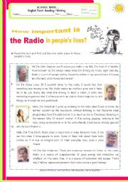 English Worksheet: An exam/test  for Intermediate students - How important is the radio in people�s lives?