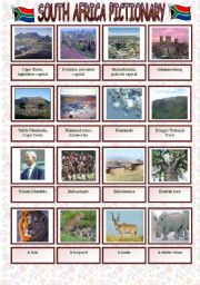 English Worksheet: South Africa pictionary with written practice of the attractions�names