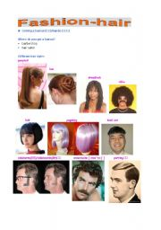 English Worksheets: Fashion--hair style with pics