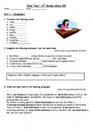 Worksheet Sixth Grade Reading Worksheets english teaching worksheets 6th grade final test