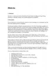 English Worksheets: dislexia